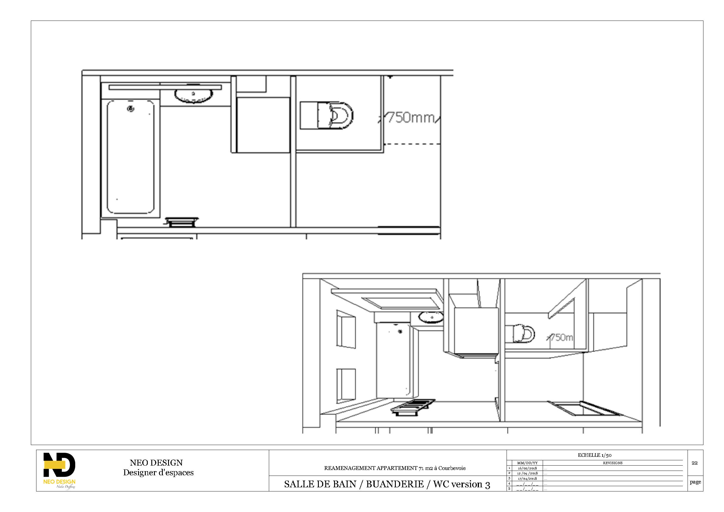 Conception et plans salle de bain
