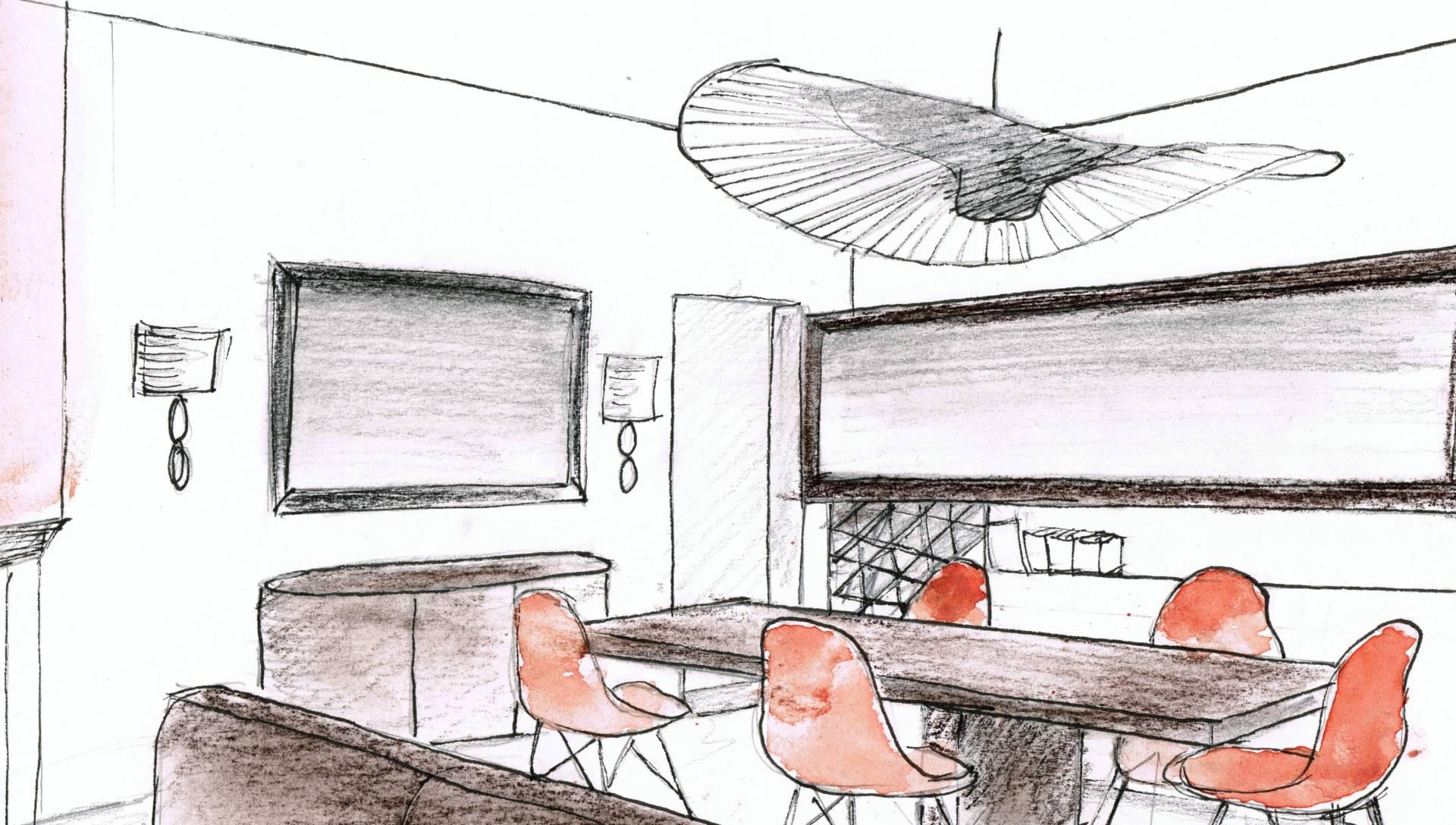 Croquis salon à Montpellier réalisé par Nadia Duffieux