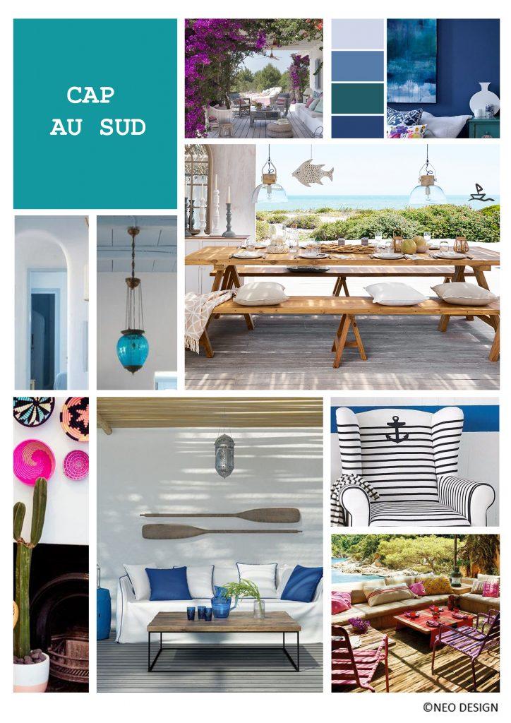 Planche d'ambiance Cap au Sud, par Nadia Duffieux, Architecte d'intérieur et Décoratrice à Montpellier 34