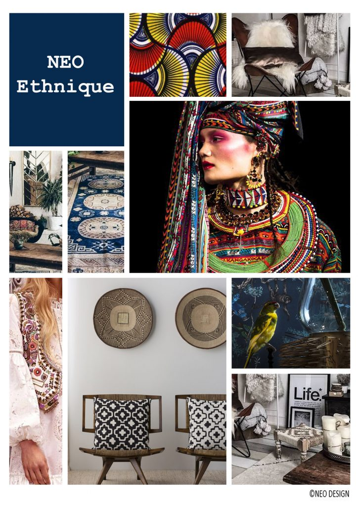 Planche d'ambiance style ethnique, par Nadia Duffieux, Architecte d'intérieur et Décoratrice à Montpellier 34