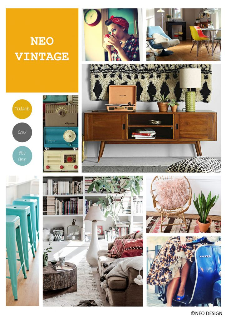 planche d'ambiance vintage, décoratrice d'intérieur