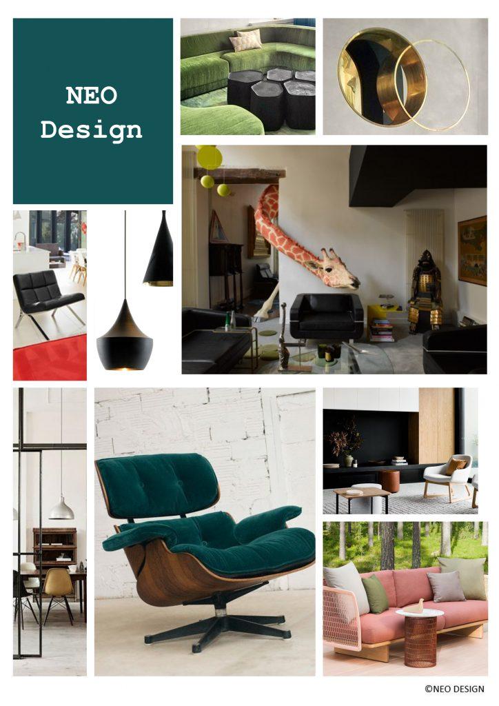 planche d'ambiance style design, decoratrice et designer d'espaces à Montpellier