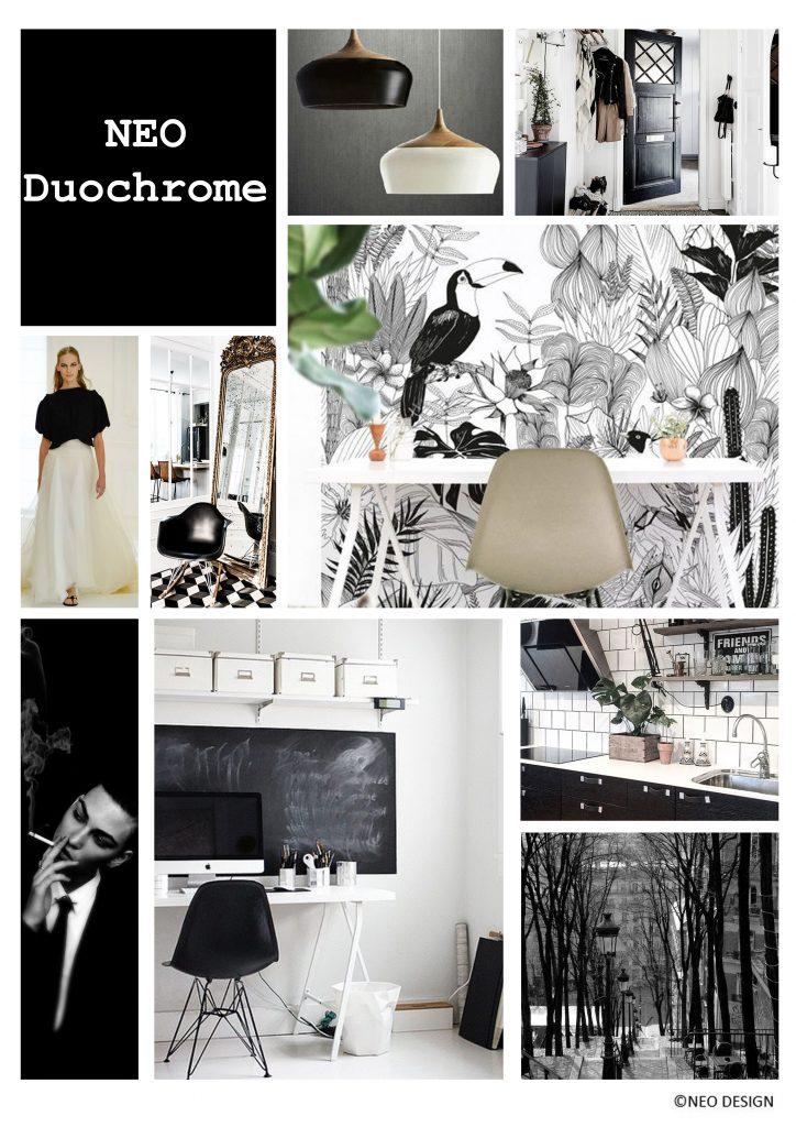 Planche d'ambiance Néo Duochrome , par Nadia Duffieux, Architecte d'intérieur et Décoratrice à Montpellier 34