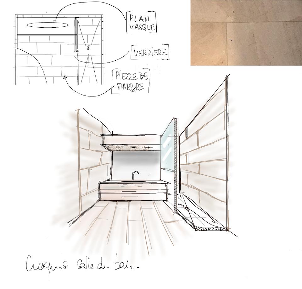 croquis nadia duffieux designer d'espaces et décoratrice d'intérieur