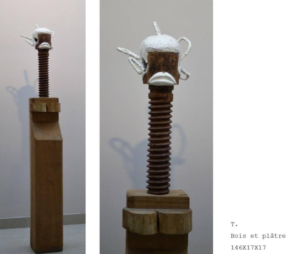Sculpture bois et platre Nadia Duffieux Designer